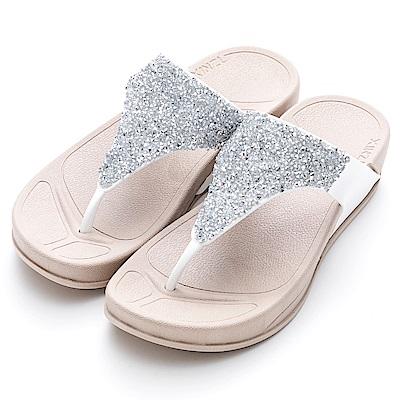 River&Moon防水鞋-閃耀亮片彈力夾腳厚底涼拖鞋-銀白