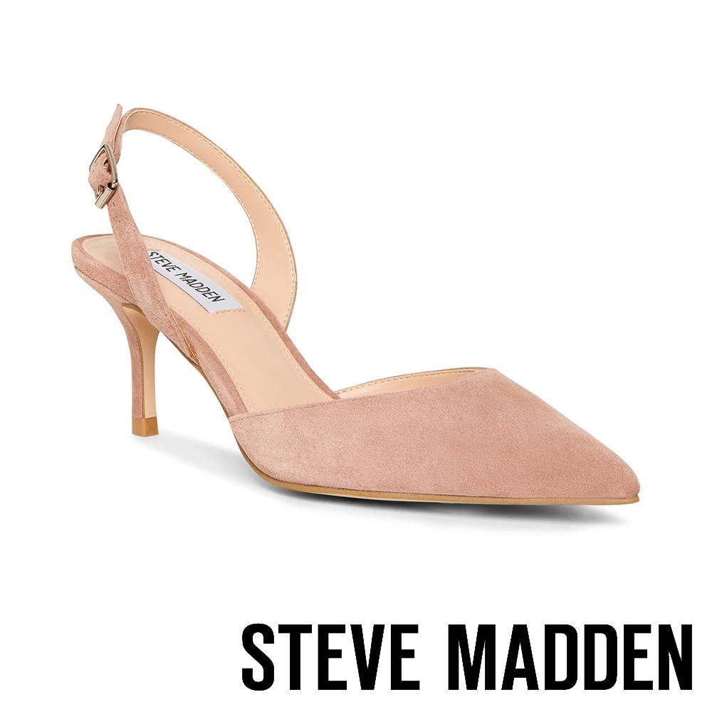 STEVE MADDEN-TISH 名媛推薦 後跟帶包趾細跟涼鞋-絨卡其