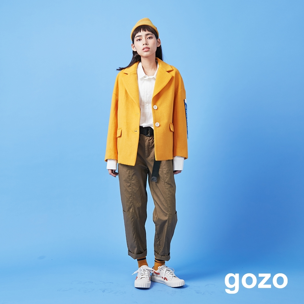 gozo 飛行前拆除布標混羊毛西裝外套(二色)