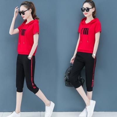 【韓國K.W.】(預購)純淨簡約字母休閒七分套裝褲-3色