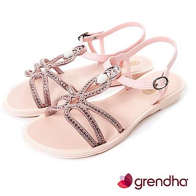 Grendha 布達佩斯冰石平底涼鞋-玫瑰金