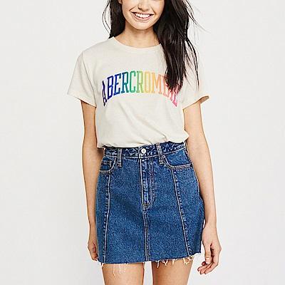 A&F 經典文字設計短袖T恤(女)-米白色 AF Abercrombie