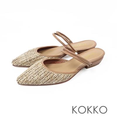 KOKKO -度假風麻編穆勒鞋-編織咖