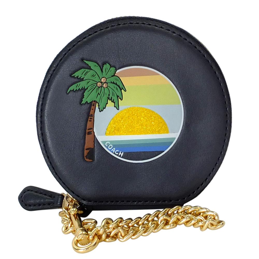 COACH圓形午夜藍全皮椰樹海洋圖印鍊帶手掛零錢包