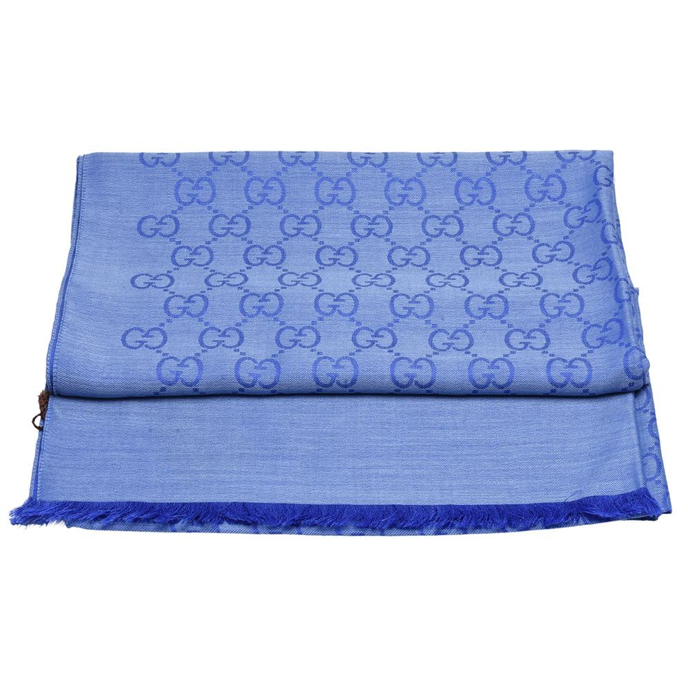 GUCCI 經典大G緹花羊毛混絲流蘇圍巾(藍-70X200cm)