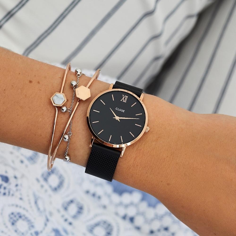 CLUSE Minuit 午夜系列腕錶 (玫瑰金框/黑錶面/黑色不鏽鋼錶帶) 33mm
