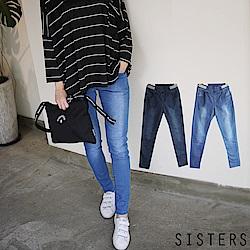 SKINNY彈力顯瘦鬆緊腰窄管牛仔褲 (S-3L)-SISTERS