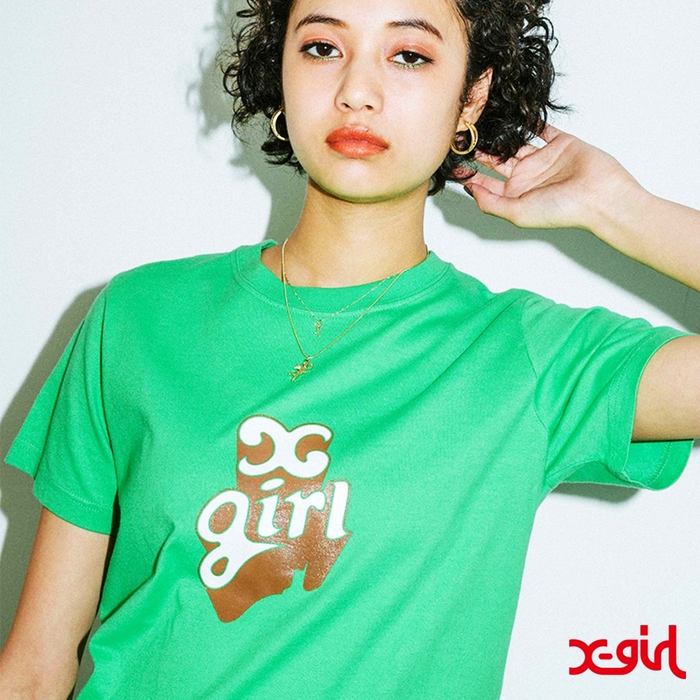 X-girl POP OUT LOGO S/S REGULAR TEE短袖T恤-綠