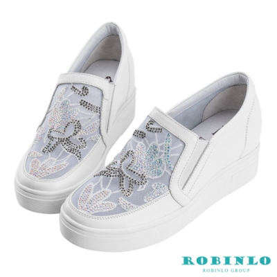 Robinlo 閃耀微透花朵牛皮內增高休閒鞋 白色