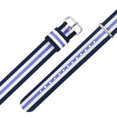 Watchband DW 各品牌通用 不鏽鋼扣頭 尼龍錶帶-藍x白x紫