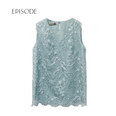 EPISODE-  不規則蕾絲刺繡V領無袖背心