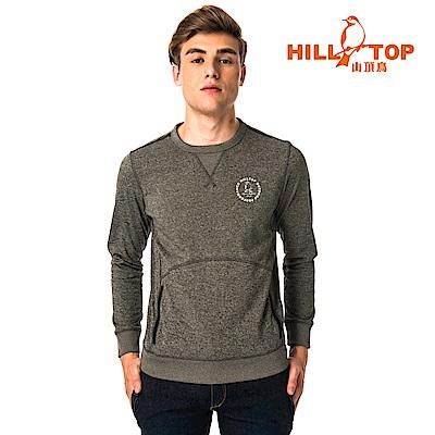 【hilltop山頂鳥】男款ZISOFIT吸溼快乾保暖刷毛上衣H51MH3灰橄欖