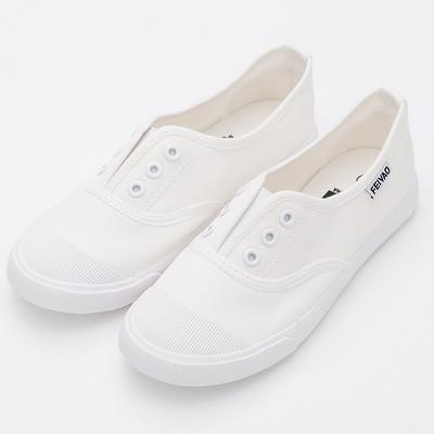 River&Moon休閒鞋-簡單生活無綁帶休閒帆布鞋-人氣白