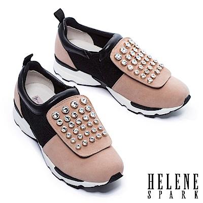 休閒鞋 HELENE SPARK 摩登時尚白鑽設計異材質拼接厚底休閒鞋-粉