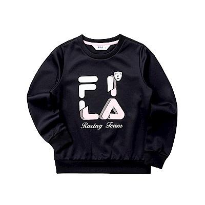 FILA KIDS 女童長袖針織圓領T恤-黑色 5TET-8408-BK