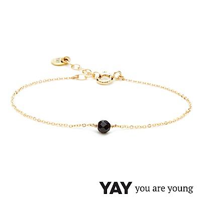 YAY You Are Young 法國品牌 Stella 黑曜石手鍊 單層款 金色