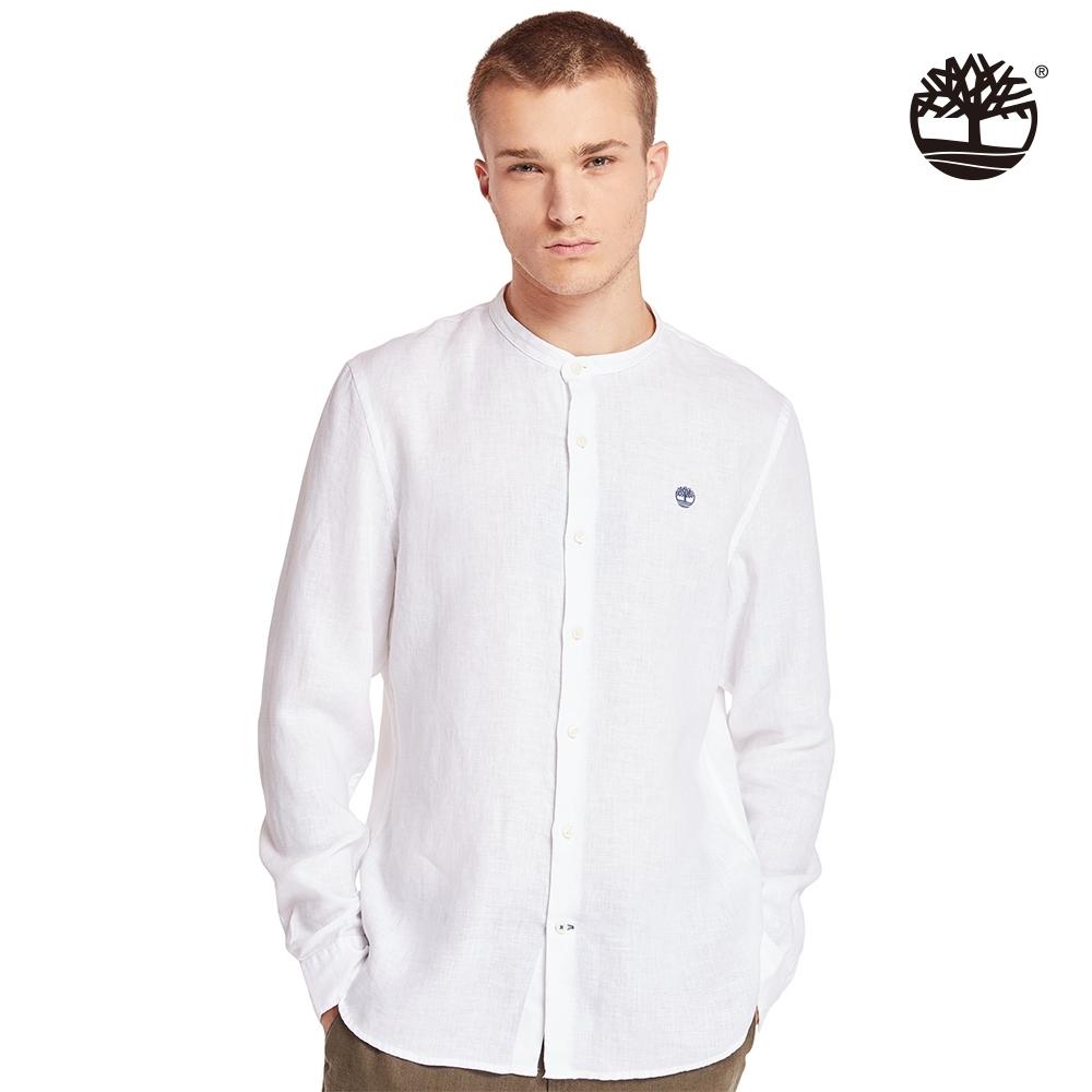 Timberland 男款白色亞麻修身長袖立領襯衫|A2BBX