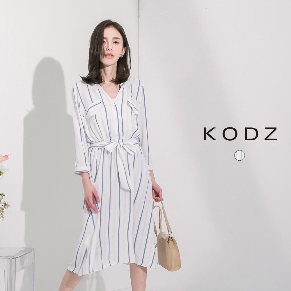 東京著衣-KODZ 夏日度假撞色條紋口袋綁帶洋裝-S.M.L