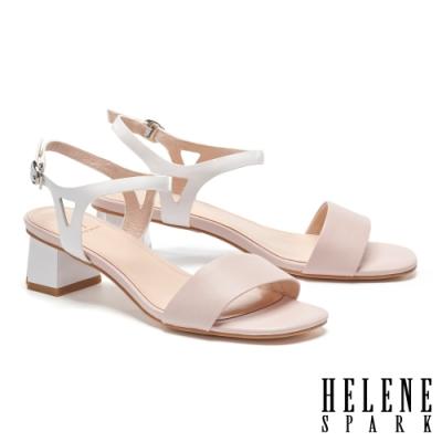涼鞋 HELENE SPARK 清新簡約雙色一字全真皮高跟涼鞋-粉