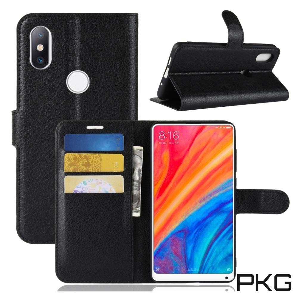 PKG 小米MIX3 側翻式-精選皮套-經典款式-黑