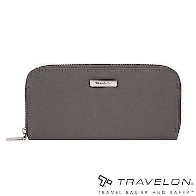Travelon美國防盜包 RFID BLOCKING單層拉鍊長夾TL1-43398灰