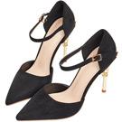 AIR SPACE 華麗鞋跟設計一字繞踝尖頭絨布高跟鞋(黑)