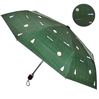 2mm 100%遮光 趣味森林 黑膠降溫自動開收傘 (大地綠)