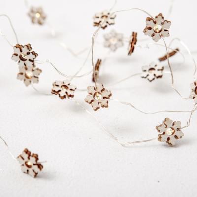 完美主義 2呎純白木質雪花燈/露營/聖誕樹燈條/燈串裝飾品/佈置/裝飾