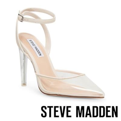 STEVE MADDEN-ALESSI 半透明鞋面繞踝高跟涼鞋-透明杏