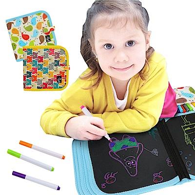 JoyNa兒童繪畫本 可擦拭水彩筆雙面黑板畫冊