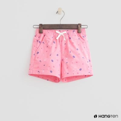 Hang Ten -童裝 - 綁帶造型logo滿版短褲 - 粉