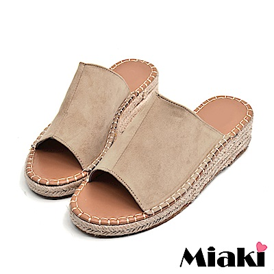 Miaki-楔型鞋南洋風編織露趾拖鞋-杏