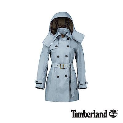 Timberland 女款淺藍灰色防水雙排釦綁帶經典風衣|B3101