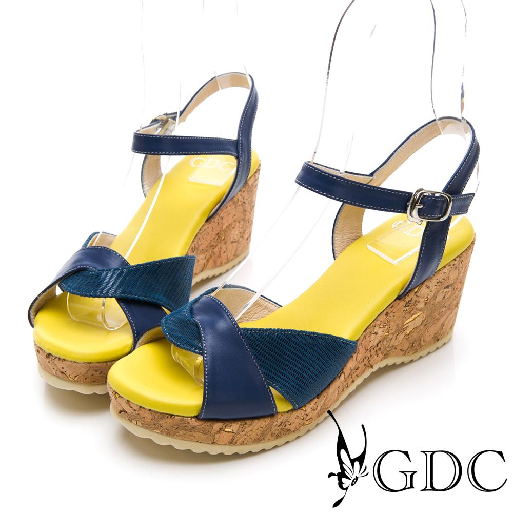 GDC-春夏日系編織拼接木紋楔型交叉涼鞋-藍色