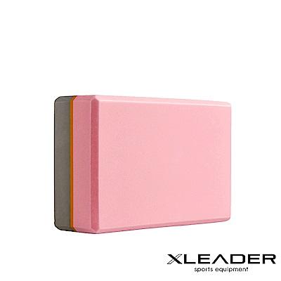 Leader X 環保EVA高密度防滑 亮彩撞色瑜珈磚 粉膚灰- 急