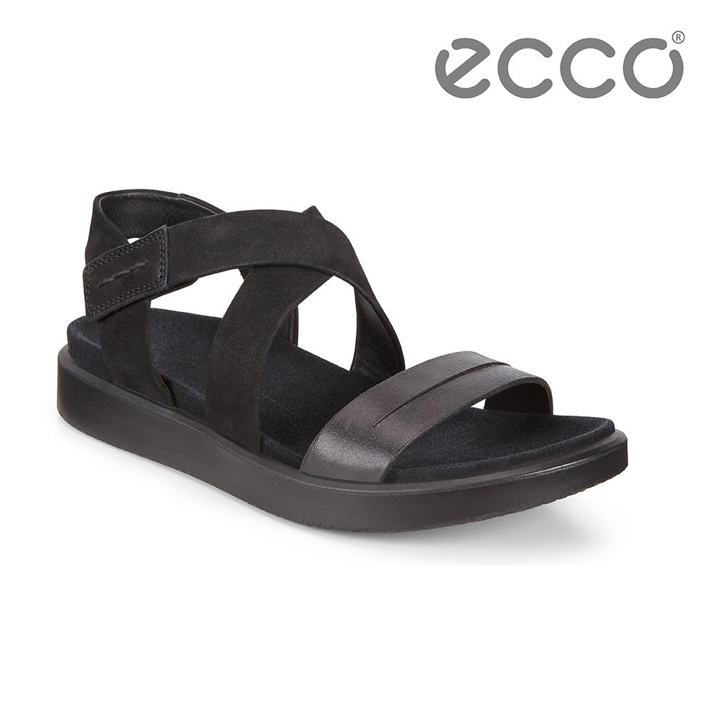 ECCO FLOWT W 亮麗律動交叉平底涼鞋 女鞋-黑色