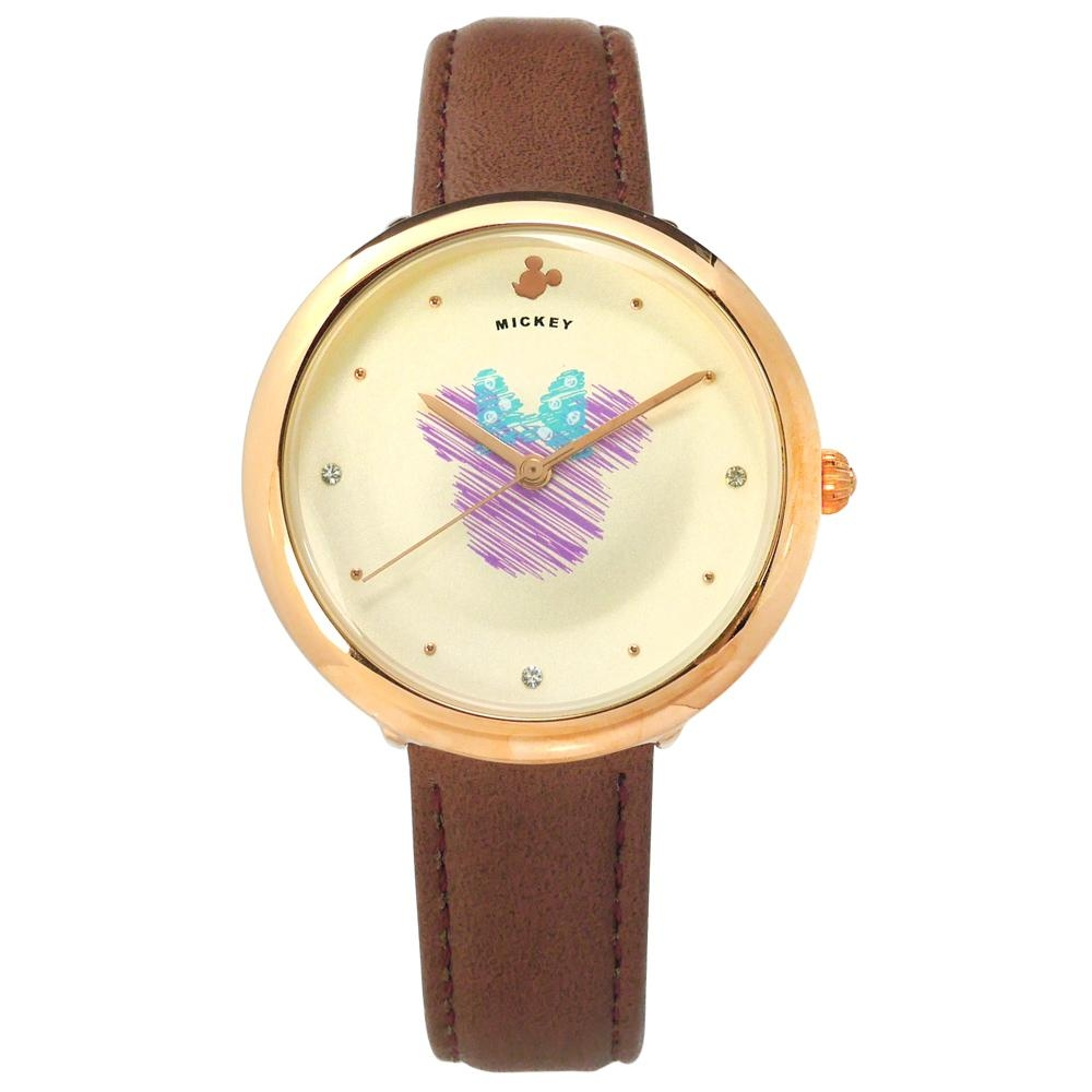 Disney 迪士尼 米奇系列 手繪塗鴉 兒童 卡通 皮革手錶-米x玫瑰金x咖啡/38mm