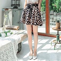豹紋印花雪紡傘襬綁帶短裙 (褲型內裡)-OB大尺碼