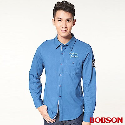 BOBSON 男款合身版針織長袖上衣(藍58)