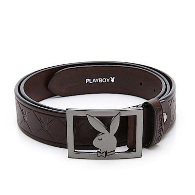 PLAYBOY- 鏤空兔頭 鋅合金帶頭皮帶-咖啡色