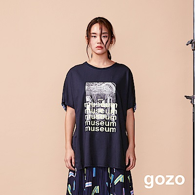 gozo 落肩Oversize設計印花棉T(兩色)