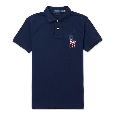 Polo Ralph Lauren 經典刺繡美國旗大馬短袖Polo衫(CUSTOM SLIM FIT)-深藍色