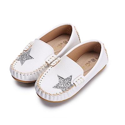 BuyGlasses 閃耀星鑽兒童豆豆鞋-白