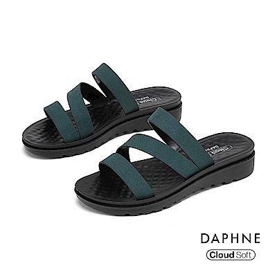 達芙妮DAPHNE 涼鞋-簡約鏤空條帶舒軟休閒拖鞋-墨綠