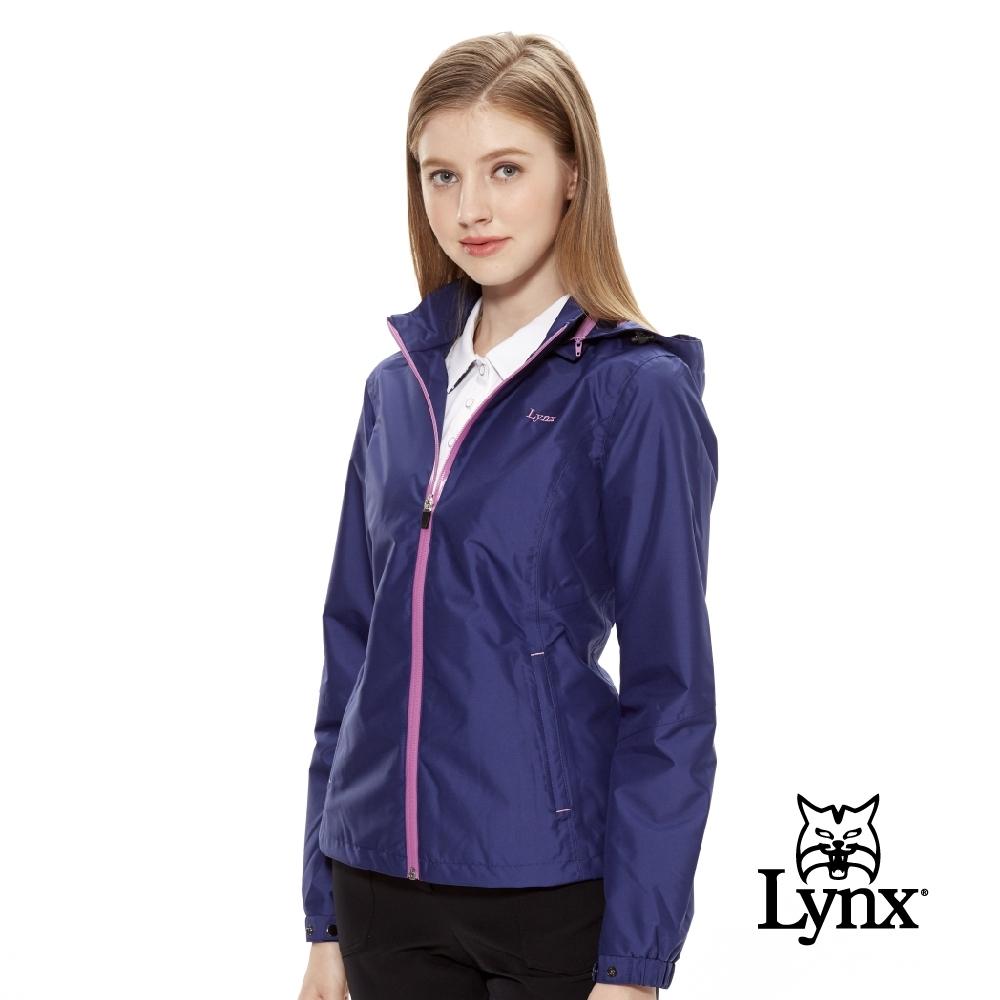 【Lynx Golf】女款防風防水透濕立領可拆式帽子長袖外套-藍色