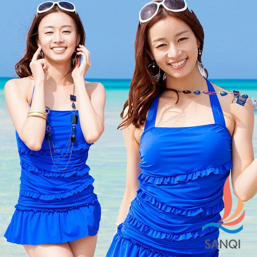 SANQI三奇 涼夏派對 二件式泳衣泳裝(藍M~XL)