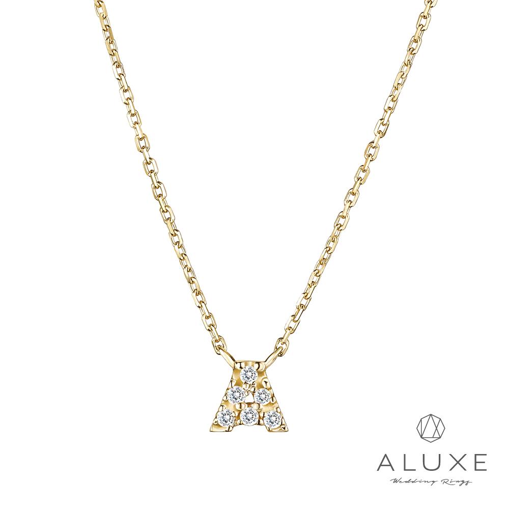 A-LUXE 亞立詩 Alphabet系列10K鑽石項鍊-A