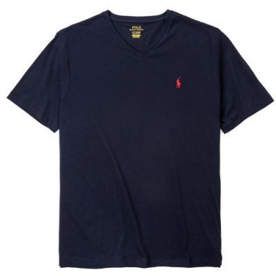 Polo Ralph Lauren 經典刺繡小馬V領素面短袖T恤-深藍色
