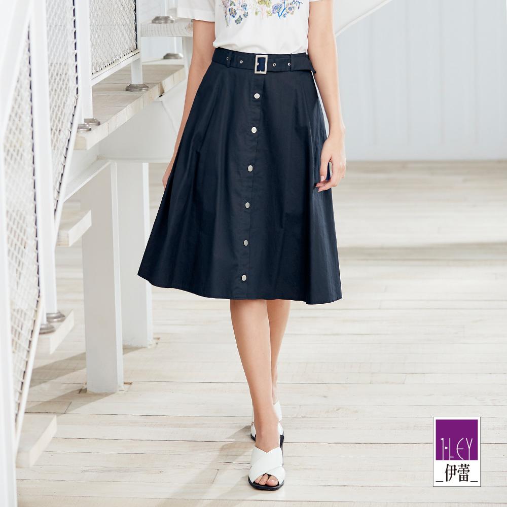 ILEY伊蕾 裝飾釦純棉A字裙(藍)
