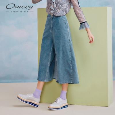 OUWEY歐薇 休閒率性牛仔七分寬褲(藍)